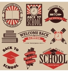 Back to school labels badges and design elements vector