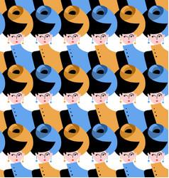Beautiful retro woman seamless pattern vector image vector image