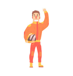 Car racing driver man in an orange uniform vector