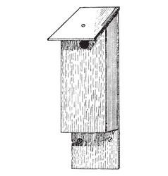 Cat proof bird house vintage vector
