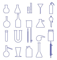 Chemistry laboratory glassware simple outline vector