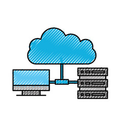 cloud with computer and database system transfer vector image