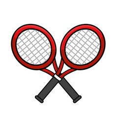 Color rackets to play tennis icon vector