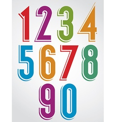 Colorful comic animated numbers with white outline vector