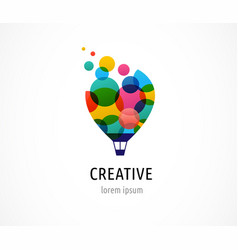 Creative colorful icon hot air balloon vector