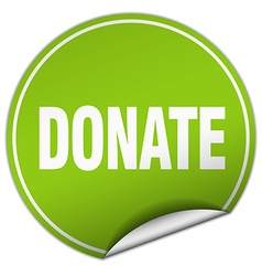 donate round green sticker isolated on white vector image vector image