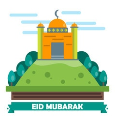 Eid mubarak flat design card vector