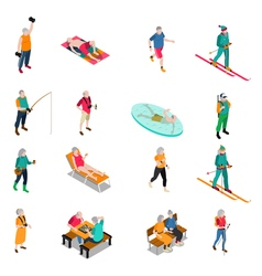 Elderly people isometric icons set vector