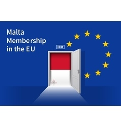 European union flag wall with malta flag door eu vector
