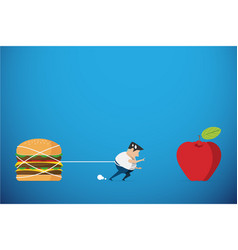 Fat man trying walk to red apple health concept vector