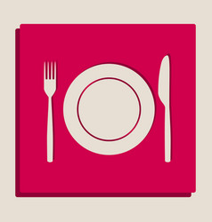 Fork knife and plate sign grayscale vector