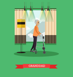Granddad using walkers in flat vector