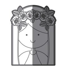 Grayscale silhouette of half body beautiful virgin vector