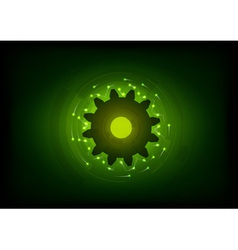 green lighting cogwheel on the black vector image vector image