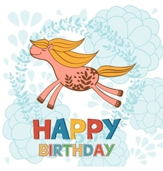 Happy birthday card with cute running horse vector