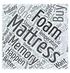 How to buy a memory foam mattress word cloud vector