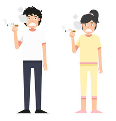 isolated woman and man smoking a cigarett vector image
