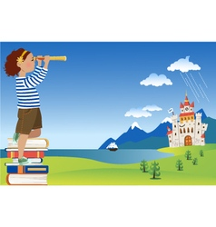 Little reader looking through telescope vector image