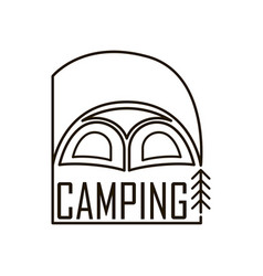 Logo for the camping tent emblem with a flag in a vector