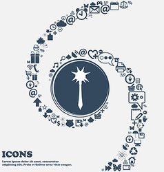 Mace icon sign in the center around the many vector