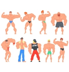 Muscly bodybuilders funny characters set vector