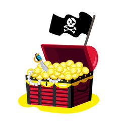 Pirate chest of gold icon vector