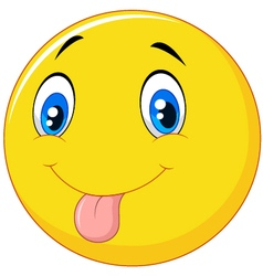 Playful emoticon smiley jokingly stuck out its ton vector image vector image
