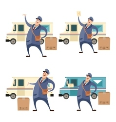 Postmans with boxes and cars1 vector image vector image