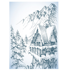 Refuge in the mountains winter cabin vector