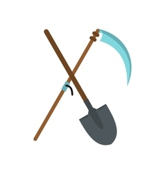 Scythe and shovel icon vector