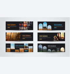 set of black horizontal web banners of standard vector image vector image
