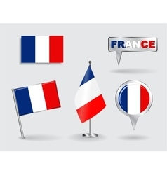 Set of French pin icon and map pointer flags vector image vector image