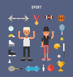 Set of Icons and in Flat Design Style Sport vector image vector image