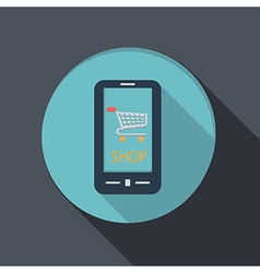 Smartphone with the symbol cart online store vector