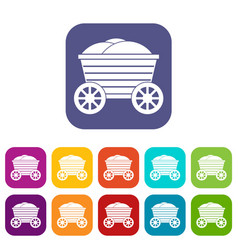 vintage wooden cart icons set vector image vector image