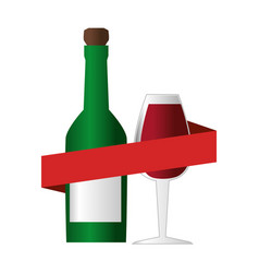 wine bottle with cork and glass cup and ribbon vector image vector image