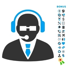 Support manager flat icon with bonus vector