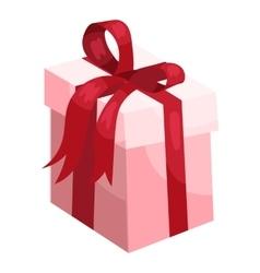Gift box ribbon and bow icon cartoon style vector image