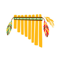 Ghost panpipes flute music instrument with feather vector
