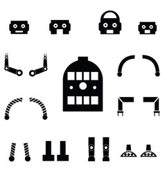 robot parts icon set vector image