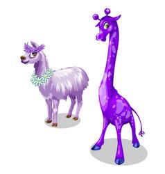funny giraffe and lama in purple color vector image