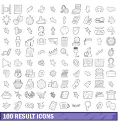 100 result icons set outline style vector