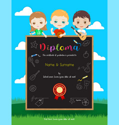 Portrait colorful kids award diploma certificate vector