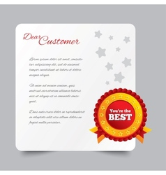Customer service letter Thank you for buying vector image