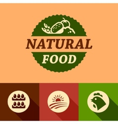 Flat natural food emblems vector