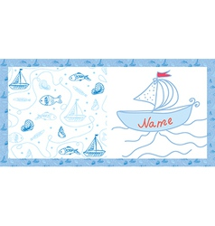 Baby card sea motif with ships vector