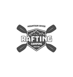 Vintage rafting kayaking canoeing camp logo vector