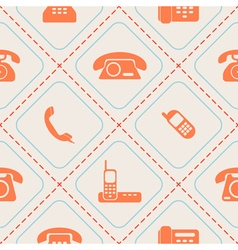 Seamless background with telephone icons vector
