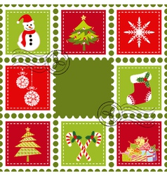 colorful christmas stamps vector image