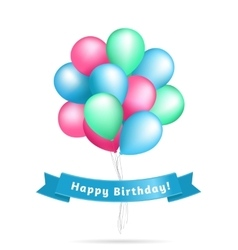 Realistic colourful balloons birthday background vector